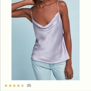 Anthropologie Floreat lilac draped front silk cami